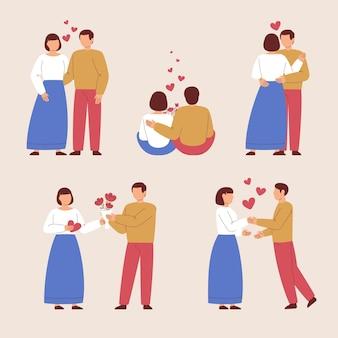 Collezione di coppie di san valentino disegnati a mano