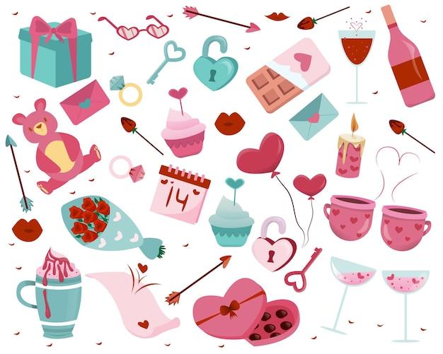 Illustrazione disegnata a mano degli elementi di giorno di biglietti di s. valentino
