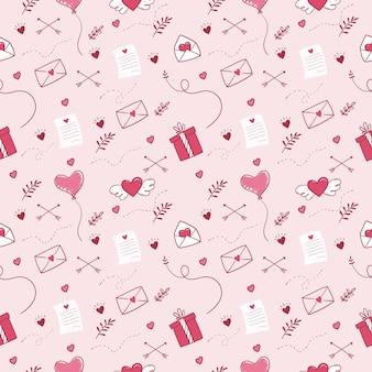 Fondo senza cuciture disegnato a mano di san valentino