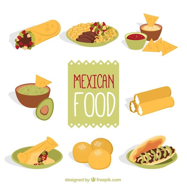 Disegnato a mano varietà di menù messicano