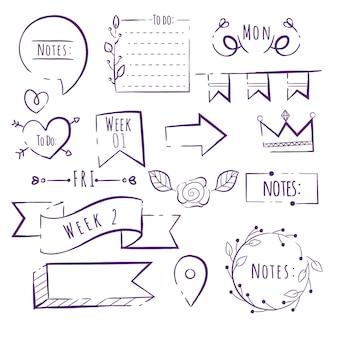 Vari elementi del diario di proiettile disegnati a mano