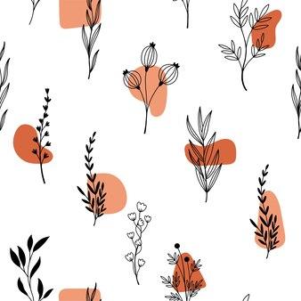 Vari fiori e forme disegnati a mano
