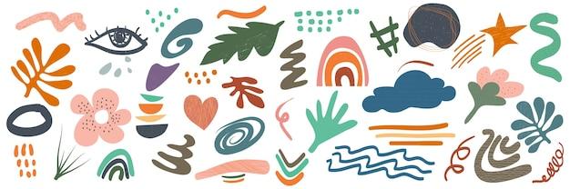 Varie forme e oggetti disegnati a mano per lo sfondo. grande insieme di doodle alla moda moderna contemporanea astratta.