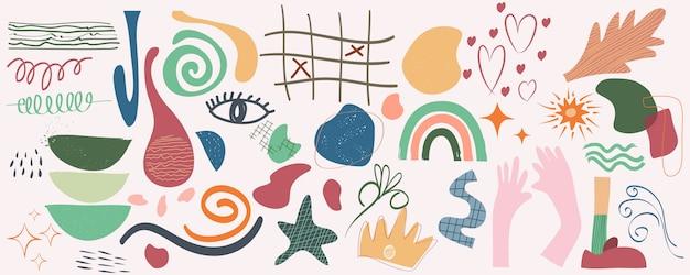 Varie forme e oggetti disegnati a mano per banner alla moda moderno contemporaneo