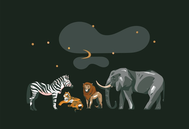Collage di safari africano grafico moderno del fumetto astratto di vettore disegnato a mano con animali safari isolato su sfondo di colore nero.