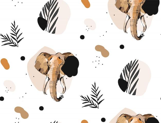 Reticolo senza giunte del collage delle illustrazioni grafiche artistiche creative astratte di vettore disegnato a mano con disegno dell'elefante di schizzo e foglie di palma tropicale in mottif tribale isolato su priorità bassa bianca
