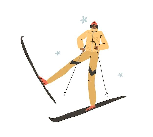 Disegnato a mano vettore astratto piatto stock moderno grafico felice anno nuovo e buon natale illustrazione personaggio dei cartoni animati design, di giovane uomo felice in costume da sciatore invernale all'aperto.