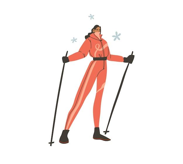 Disegnato a mano vettore astratto piatto stock moderno grafico felice anno nuovo e buon natale illustrazione personaggio dei cartoni animati design, di giovane donna felice in costume da sciatore invernale all'aperto.
