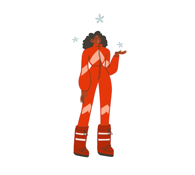 Disegnato a mano vettore astratto piatto stock moderno grafico felice anno nuovo e buon natale illustrazione character design, di giovane ragazza afroamericana felice in costume da sciatore invernale.