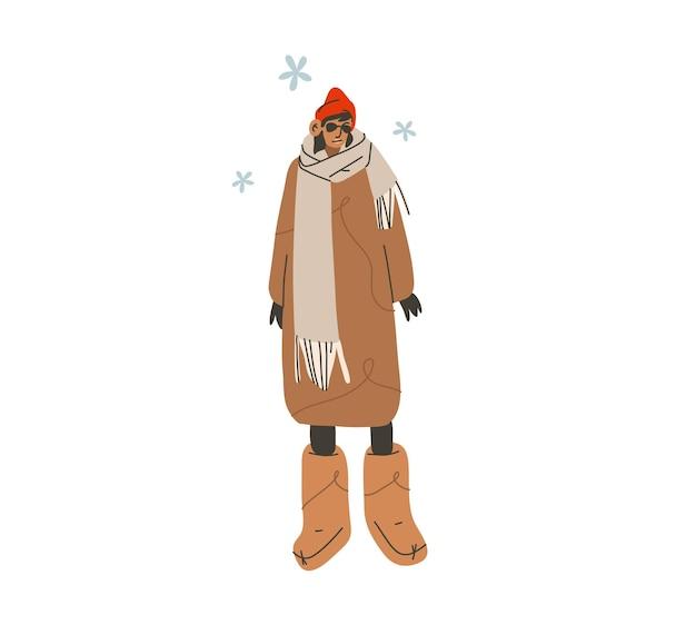 Disegnato a mano vettore astratto piatto stock moderno grafico felice anno nuovo e buon natale illustrazione character design, di giovane ragazza felice in abbigliamento invernale che cammina fuori in cappotto e stivali.