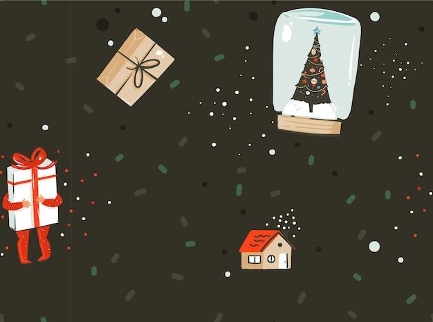 Reticolo senza giunte nordico del fumetto astratto di vettore disegnato a mano buon natale e felice anno nuovo con illustrazione sveglia di scatole regalo sorpresa e bambini caratteri isolati su priorità bassa nera.