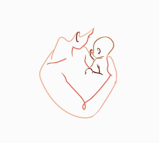 Disegnato a mano vettoriale astratto stock piatto grafico linea contemporanea arteestetica illustrazione di moda con...