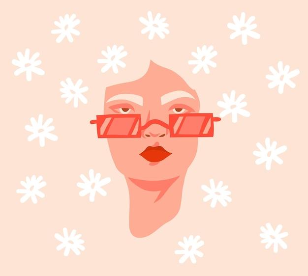 Disegnato a mano vettore astratto stock piatto grafico illustrazione stampa con retrò vintage groovy hippie anni '60, '70 boho moderno ritratto femminile con fiori margherita tra i capelli isolati su backhround di colore.