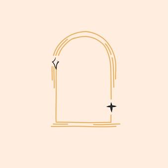 Disegnato a mano vettore astratto stock piatto grafico illustrazione con elemento logo, emblema minimalista magico di astrologia bohémien del portale ad arco di linea con stelle, stile semplice per il branding.