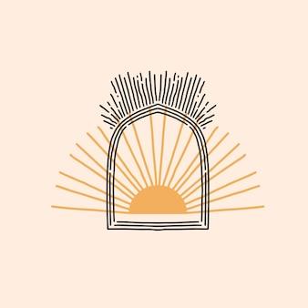Disegnato a mano vettore astratto stock piatto grafico illustrazione con elemento logo, emblema minimalista magico di astrologia bohémien del portale ad arco di linea mistica e sole dorato con raggi, stile semplice per il branding.