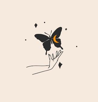Disegnato a mano vettore astratto stock piatto grafico illustrazione con elemento logo, arte magica bohémien di sagoma farfalla in mano di donna strega, stile semplice per il branding, isolato su sfondo colorato.