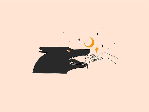 Disegnato a mano vettore astratto stock piatto grafico illustrazione con elementi del logo, donna moda linea magica arte mani toccano luna e lupo in stile semplice per il branding, isolato su sfondo colorato.