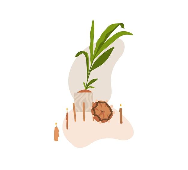 Disegnato a mano astratto stock grafico bohémien clipart illustrazione vettoriale con elementi di design di interni di bellezza, soggiorno moderno mobili scandinavi isolato su priorità bassa bianca