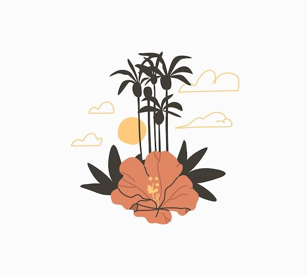 Disegnato a mano vettore astratto stock grafico estate fumetto, illustrazioni minimaliste logo, con la siluetta dell'isola di bella palma tropicale con fiore esotico di doodle isolato su priorità bassa bianca.