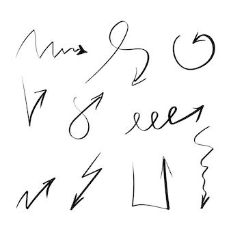 Set di frecce vettoriali disegnate a mano
