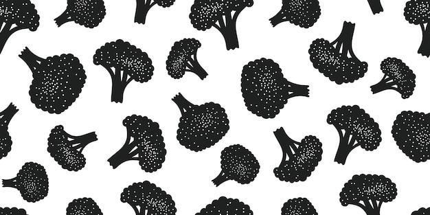 Modello senza cuciture broccoli vettoriali disegnati a mano.