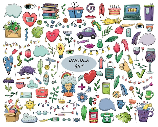 Insieme di doodle di vettore disegnato a mano.