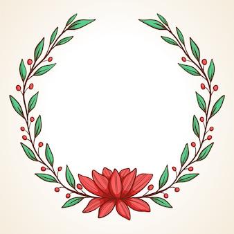 Struttura di vettore disegnato a mano corona floreale con foglie per matrimonio e vacanze elementi decorativi per il design