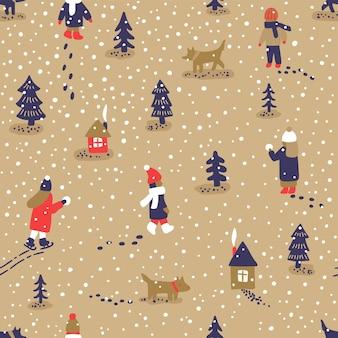 Divertimento di inverno di vettore disegnato a mano illustrazione. modello senza cuciture con persone cani, alberi e case