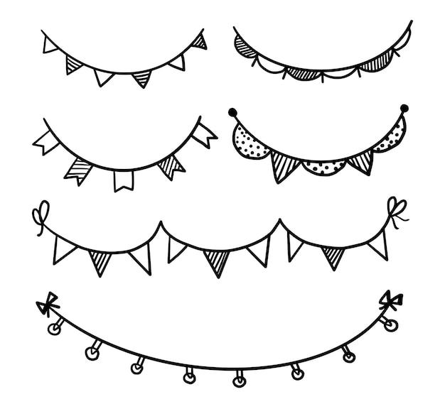 Stamina di festa di ghirlanda di vettore disegnato a mano