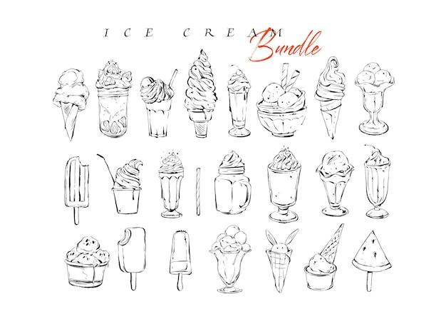 Disegnato a mano grafica vettoriale martellata menu artistico inchiostro raccolta set schizzo illustrazioni disegno fascio di gelato e dolci cocktail bevande in vetro isolato su priorità bassa bianca.