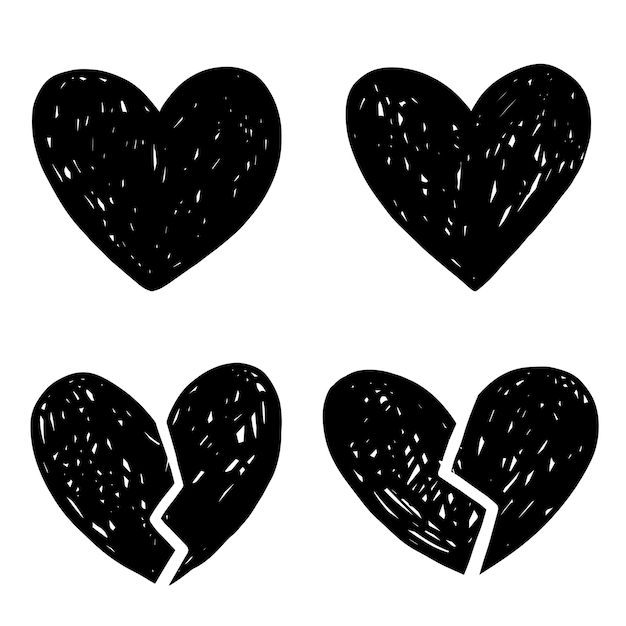 Adesivi di coppia spezzata cuore vettoriale disegnato a mano