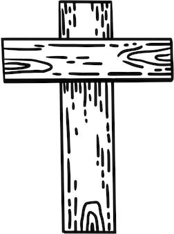 Croce di legno religiosa di vettore disegnato a mano santa