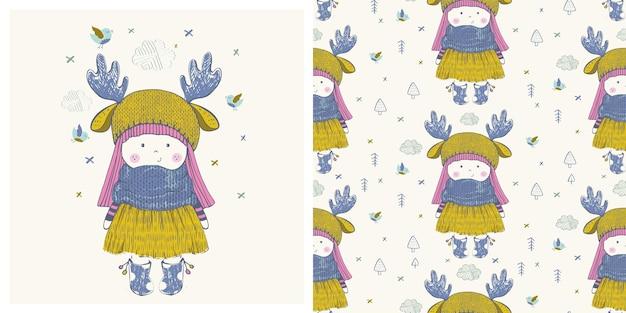 Illustrazione vettoriale disegnata a mano della bambina carina con motivo senza cuciture può essere utilizzata per la maglietta