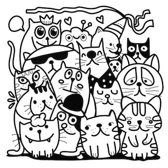 Illustrazione vettoriale disegnata a mano di doodle cat group, disegno degli strumenti della linea di illustratore