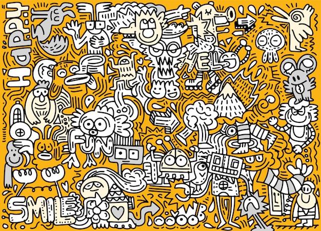 Illustrazione disegnata a mano di vettore del mondo divertente di scarabocchio