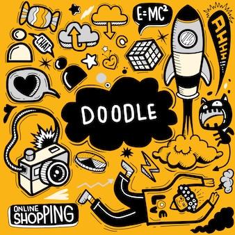 Illustrazione vettoriale disegnato a mano di doodle set, strumenti di linea di illustratore disegno, design piatto