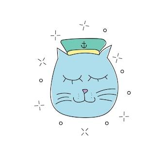 Disegnato a mano di un gatto marinaio divertente in un berretto, collare. oggetti isolati su sfondo bianco. linea di disegno. concetto di design per bambini e stampa t-shirt.