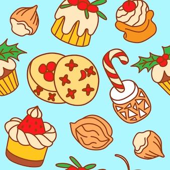 Illustrazione vettoriale disegnata a mano del modello senza cuciture con dolci natalizi e invernali