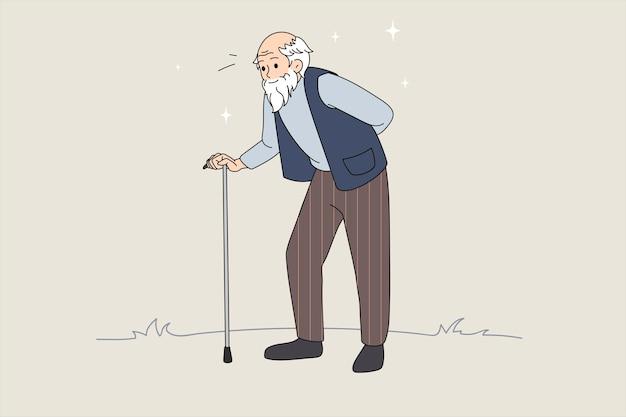 Illustrazione vettoriale disegnata a mano dell'uomo anziano con bastone da passeggio. pensione senior. vecchio ambulante. illustrazione vettoriale con sfondo astratto