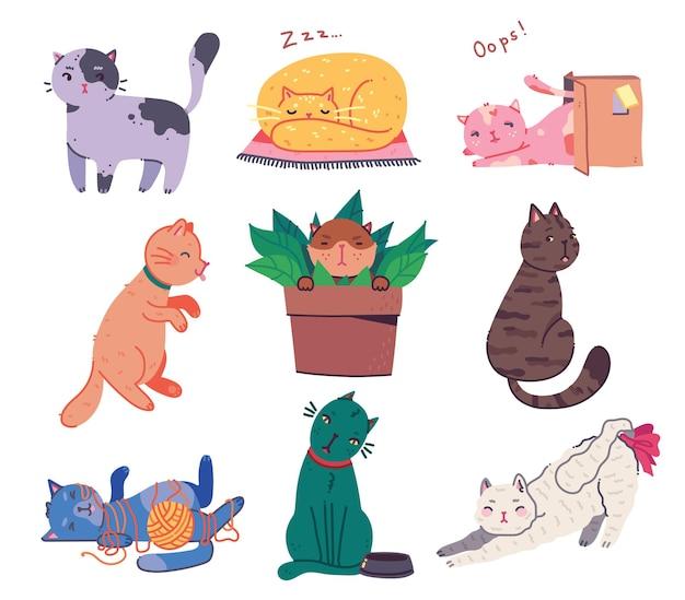 Set di illustrazioni vettoriali disegnate a mano di simpatici personaggi di gatti che abbozzano lo stile di doodle