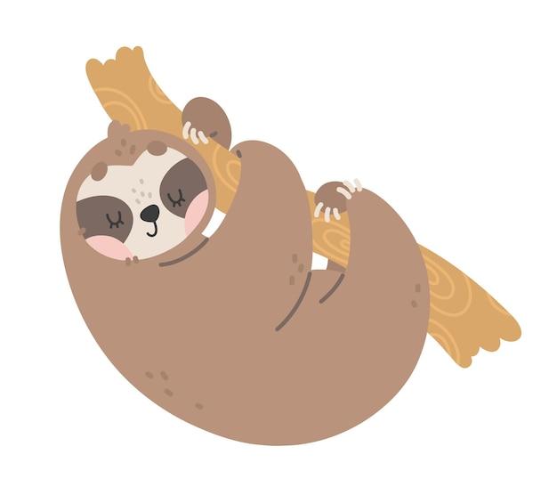 Illustrazione vettoriale disegnata a mano con bradipo carino sul ramo