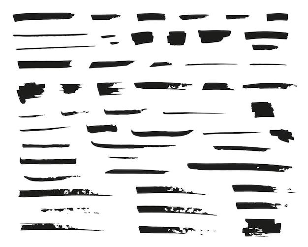 Linee vettoriali disegnate a mano pennellate nere e pennellate grunge