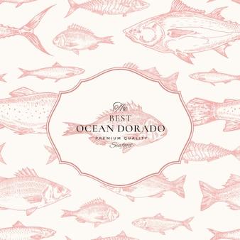 Reticolo senza giunte di vettore disegnato a mano. cartellino rosso pacchetto pesce o modello di copertina con emblema ocean dorado. sfondo di aringhe, acciughe, tonno, dorada, spigola e salmone.