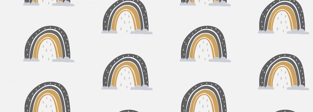 Illustrazione senza cuciture del modello di vettore disegnato a mano di un arcobaleno sveglio
