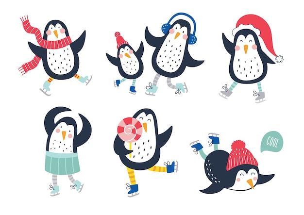 Insieme di vettore disegnato a mano di simpatici pinguini divertenti