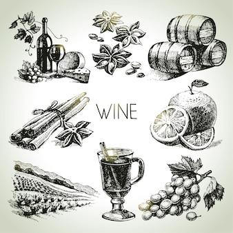 Set di vino vettoriale disegnato a mano