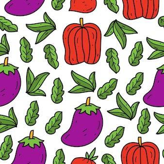 Disegno del modello del fumetto di scarabocchio di verdure disegnato a mano