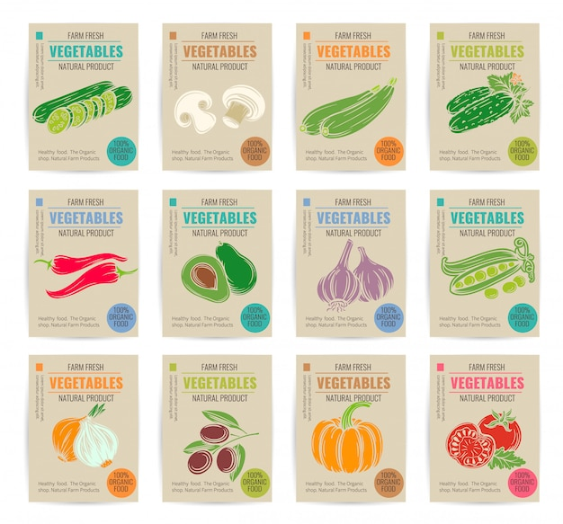 Set di manifesti di verdure disegnate a mano.