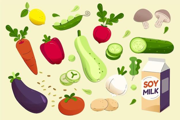 Collezione di cibo vegetariano disegnato a mano