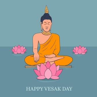 Illustrazione disegnata a mano di giorno di vesak